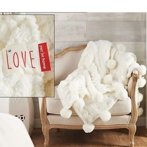 Peace Love World Luxury Luxury Shag Throw w/PomPom